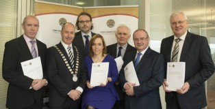 (Included from L-R, Mr. Tim Lucey, Chief Executive CCC, Cllr. Alan Coleman, Mayor of the County of Cork, Dr. Declan O'Connor, CIT, Dr. Dr Áine Ní Shé, CIT, Dr. Michael Keane, Mr. James Fogarty, Divisional Manager CCC & Mr. Tom Stritch, Divisional Manager CCC, Image provided by Martin Walsh)