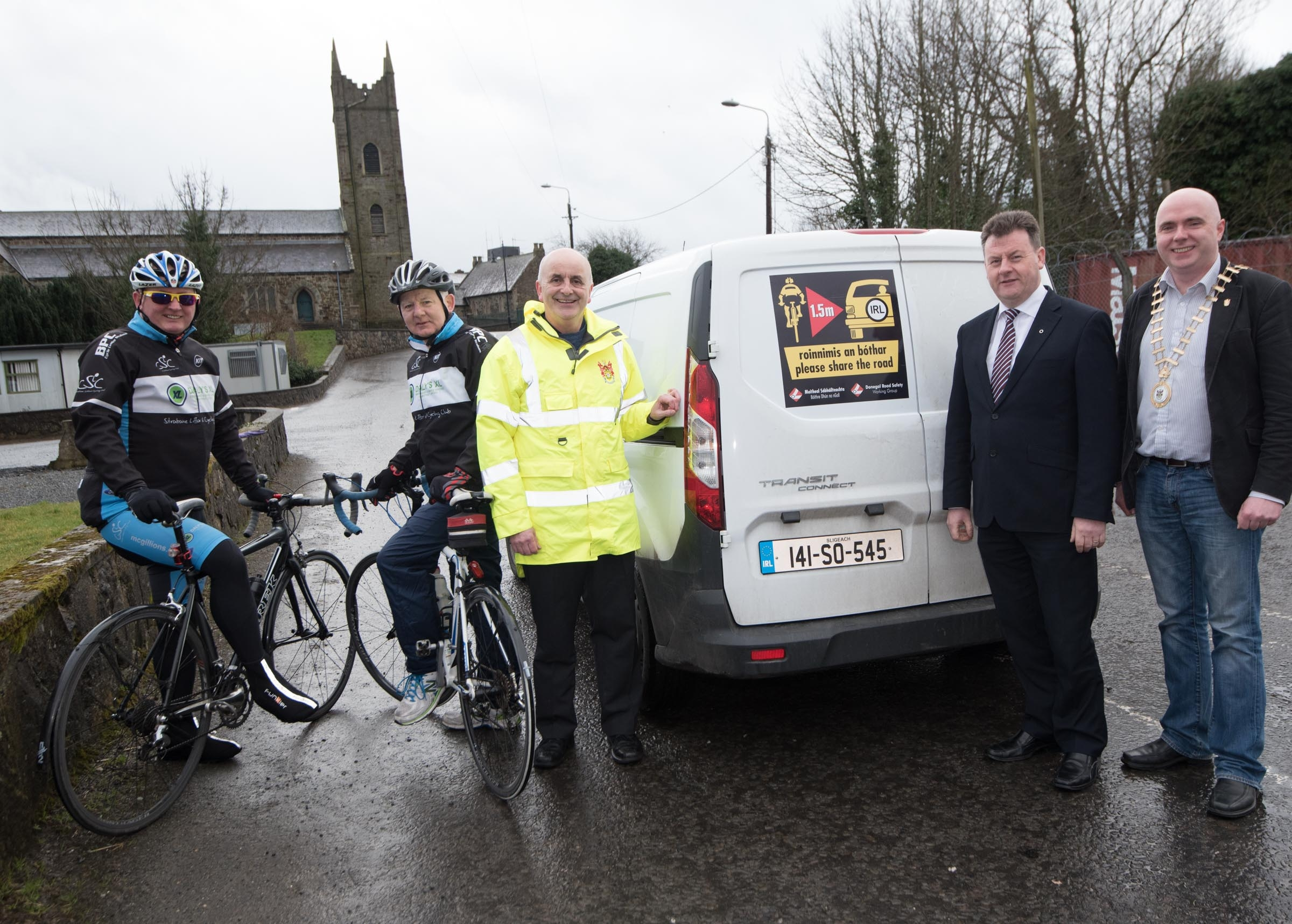 Photo Caption: Cathaoirleach, Cllr. John Campbell, Chief Executive, Seamus Neely,  Road Safety Officer, Brian O'Donnell, Neil McBeth and Brendan Patton, members of Lifford/Strabane Cycling Club at the launch of the Staying Alive 1.5 Cycle Awareness Campaign.
