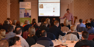 Photo courtesy of Local Enterprise Office Fingal. Caption: Noel Davidson of QED explaining to 100 owner/managers of Fingal small businesses how to grow Online sales.