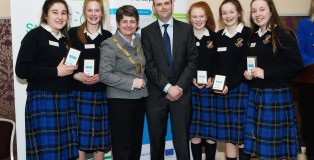 PHOTO: Sophie Hanrahan, Sadie Lehane, Jade Pinkney, Claire Murphy and Sorayya Melrose from St. Raphaela's Secondary School, intermediate category winners at the local county finals of the Student Enterprise Awards, pictured with Cllr. Marie Baker, Cathaoirleach of Dún Laoghaire-Rathdown County Council and Michael Hayden of Local Enterprise Office Dún Laoghaire-Rathdown.