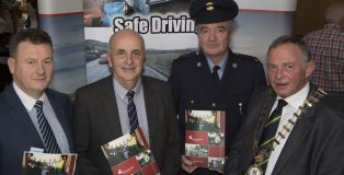 Mayor Donegal Colr Terence Slowey with membres of the Road Safety Working Group including Seamus Neilly (CEO Donegal County Council). Inspector Michael Harrison, Brian O'Donnell (Road Safety Officer)  at the launch of the 5 yr plan. (North West Newspix)