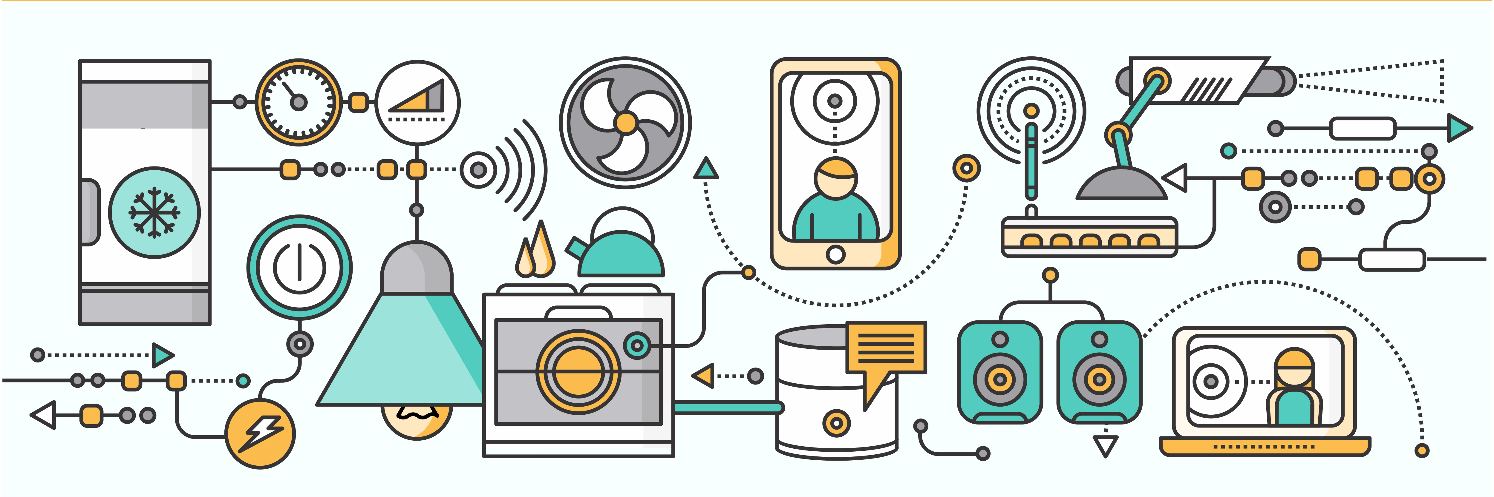 Concept of smart home and control device. Technology device, system mobile automation, monitoring energy power, electricity efficiency, equipment temperature, remote thermostat illustration