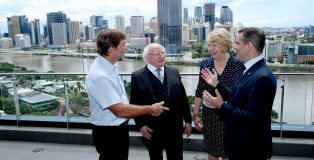 23-10-17É.. State Visit to Australia by President of Ireland and Sabina Higgins 4th - 23rd OctoberÉÉ.    President Higgins and his wife Sabina in Brisbane AustraliaÉÉ   President Higgins , his wife Sabina attends meeting with IDA client Flight Centre at their HQ in Brisbane with Martin Shanahan CEO IDA Ireland and on left Mr Graham Turner Managing Director of Flight Centre  Flight Centre  .  Pic shows President Higgins , his wife Sabina as talks with on left Mr Graham Turner Managing Director of Flight Centre and Martin Shanahan CEO IDA Ireland at Flight Centre HQ in Brisbane Australia.   Pic Maxwell's - No Repro Fee     23-10-17