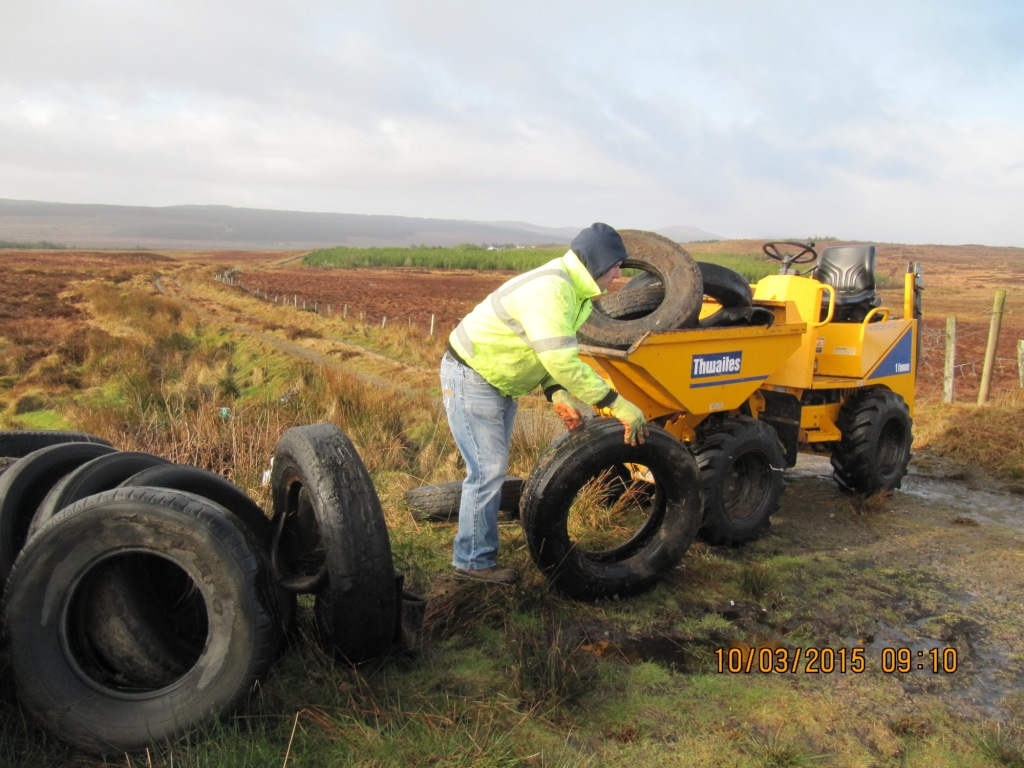 The dumped tractor tyres are collected near Trusk Lough (2)
